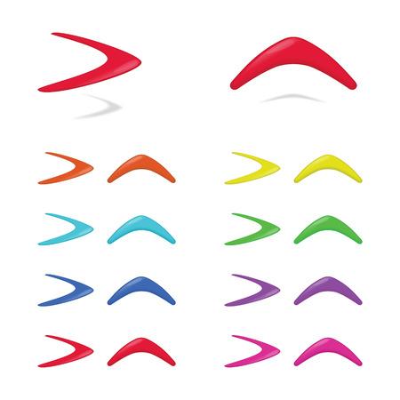 Different colors boomerangs. illustration. Illustration