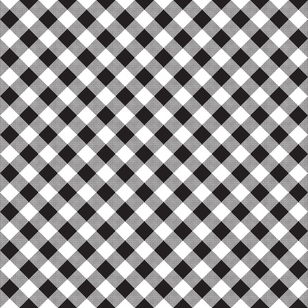 Zwart wit schaakbord cheque diagonaal weefsel textuur naadloos patroon. illustratie. Stock Illustratie