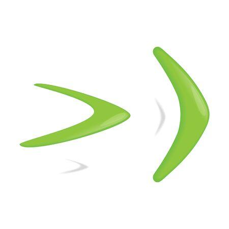 Green color boomerang. Vector illustration.