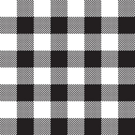 Black white check pattern seamless fabric texture. Vector illustration. Illustration