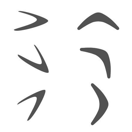 Different perspective boomerangs. Vector illustration.