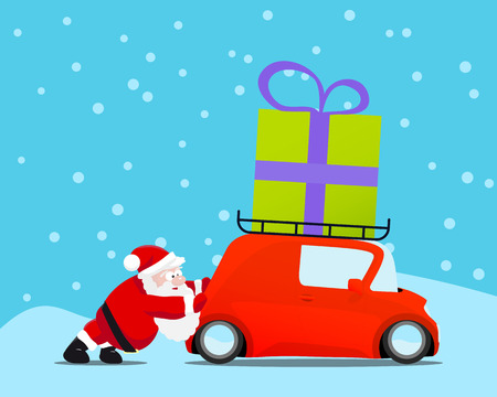 Santa pushing christmas car with gift. Vector illustration. Illustration