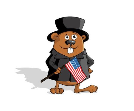 cilinder: Groundhog in hat cilinder with usa flag. Flat design. Vector illustration.