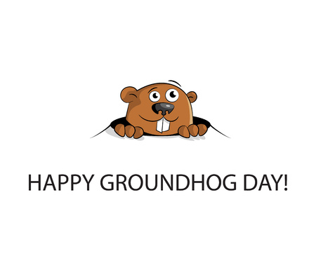 Groundhog peeking out of a hole. isolated  Flat design. Vector illustration.