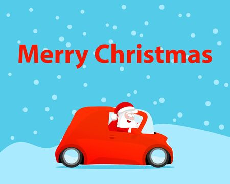 Santa drive car christmas card. Vector illustration. Illustration