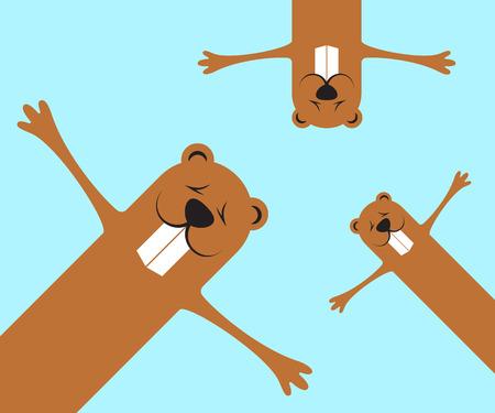 Groundhog day funny marmots background. Flat design. Vector illustration. Illustration