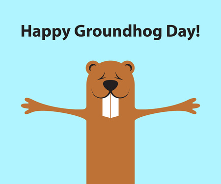 Groundhog day funny cartoon character of marmot. Flat design. Vector illustration.
