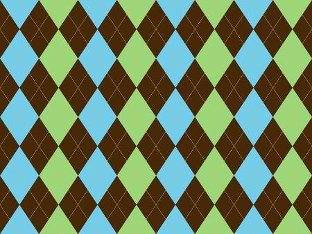 Brown green blue argyle seamless pattern. Flat design. Vector illustration.