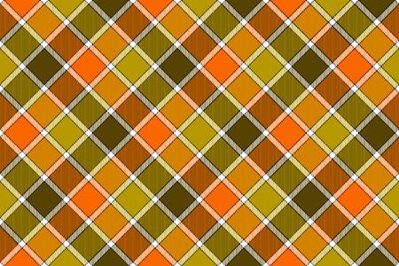 Brown green orange diagonal check seamless pattern. Vector illustration. Flat design. EPS10. Illustration
