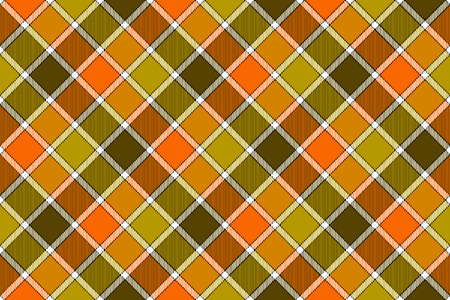 checked: Brown green orange diagonal check seamless pattern. Vector illustration. Flat design. EPS10. Illustration