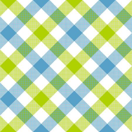 Blue green diagonal checkered plaid seamless pattern. Vector illustration. EPS 10.  イラスト・ベクター素材