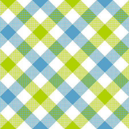Blue green diagonal checkered plaid seamless pattern. Vector illustration. EPS 10. Ilustração