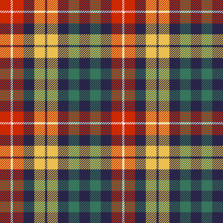 Colors check plaid seamless fabric texture. Vector illustration. Vettoriali