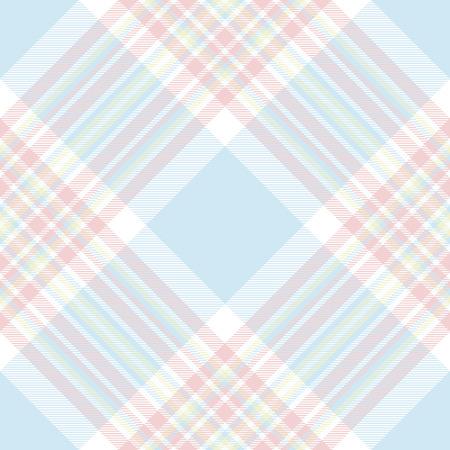 Pastel check diagonal fabric texture seamless pattern. Vector illustration. Flat design. EPS10.