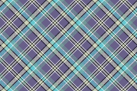 Cold colors diagonal plaid pixeled seamless background. Vector illustration.