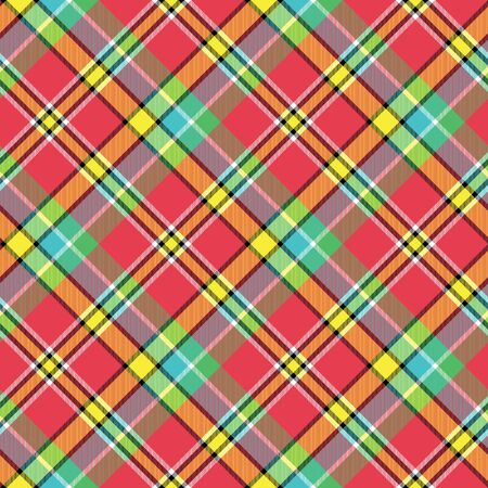 Madras: Madras bright color tartan seamless fabric texture. Vector illustration.