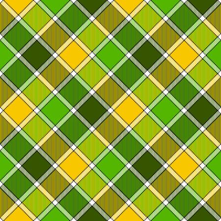Green yellow diagonal check plaid seamless pattern. Vector illustration. Flat design. EPS10.