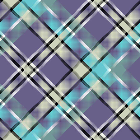 Cool color diagonal fabric texture pixeled seamless pattern. Vector illustration.