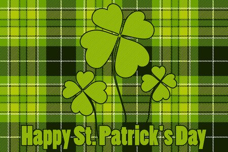 Clover on seamless check plaid background Happy St Patricks Day. Vector illustration.