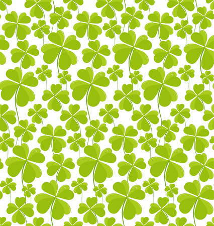 patrik: Clovers seamless pattern St Patricks Day. Vector illustration. Illustration