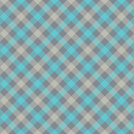 Blue gray check plaid fabric texture seamless pattern. Vector illustration.