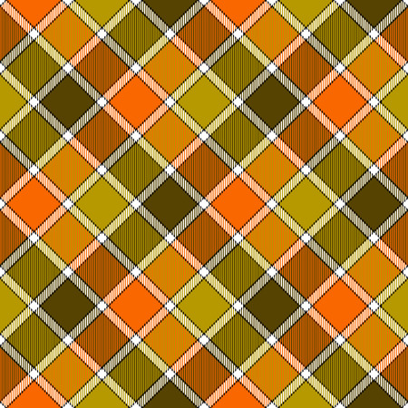 Green orange diagonal check plaid seamless pattern. Vector illustration. Flat design. EPS10.