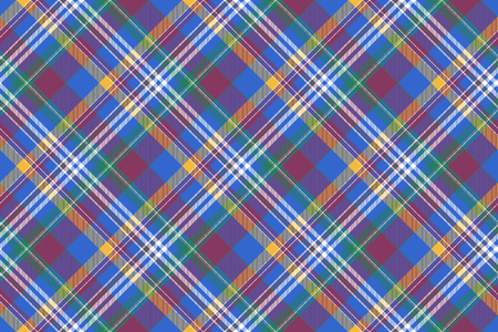 Blue pink diagonal plaid madras seamless background. Vector illustration.