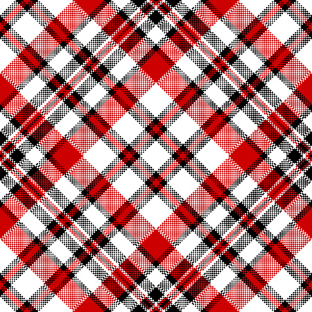 White red diagonal check square pixel seamless pattern. Vector illustration.