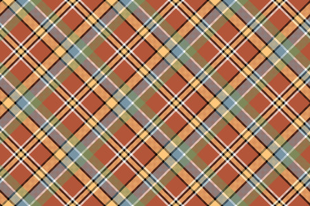 Beige brown diagonal plaid pixeled seamless background. Vector illustration.