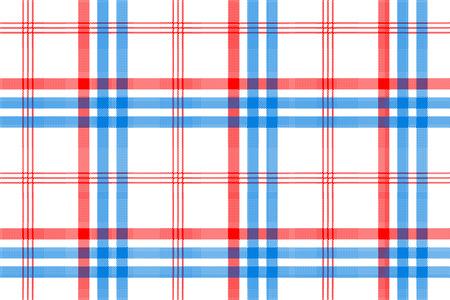 Berprüfen Sie weißes Textil mit nahtlosem Muster der roten und blauen Streifen. Vektor-Illustration. Standard-Bild - 71545524