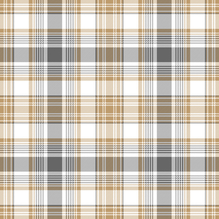 Gold gray white check fabric texture seamless pattern. Vector illustration.
