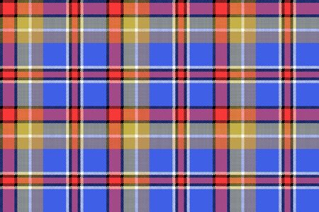 Blue madras check plaid pixeled seamless texture. Vector illustration.