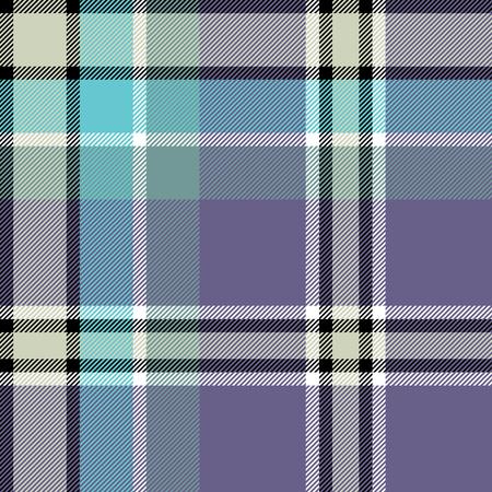 madras: Gray blue check fabric texture seamless pattern. Vector illustration. Illustration