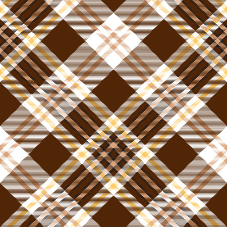 Check brown beige textile seamless pattern. Vector illustration.
