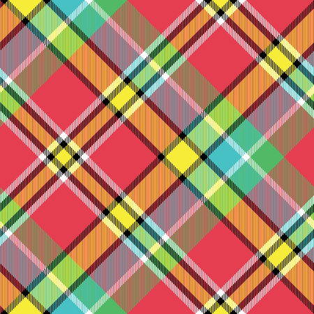 Madras bright color check plaid seamless fabric texture. Vector illustration.