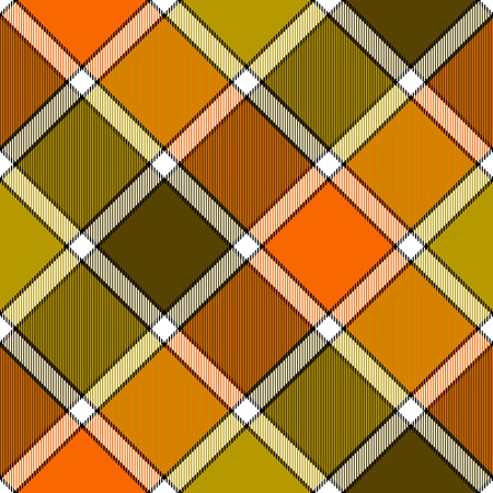Orange khaki marsh color diagonal check plaid seamless pattern. Vector illustration. Flat design. EPS10.