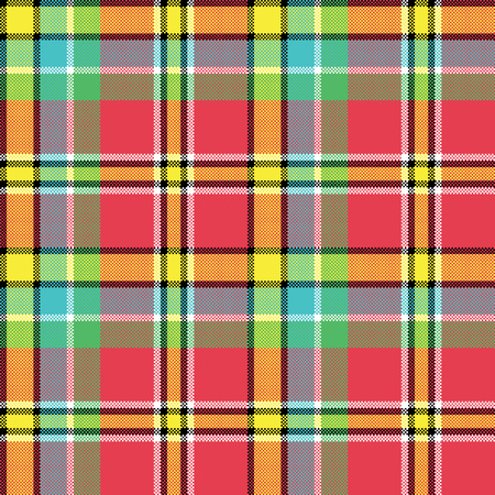 Madras fabric texture square pixel seamless pattern. Vector illustration.