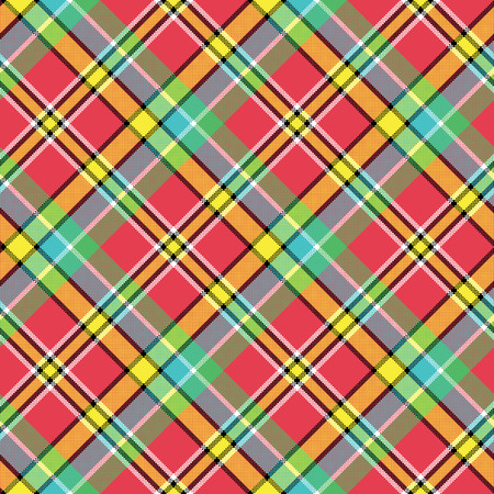 Madras diagonal plaid pixeled seamless pattern. Vector illustration.