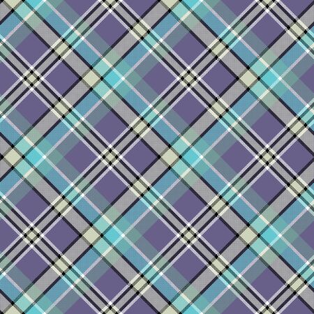 Cold colors diagonal plaid pixeled seamless pattern. Vector illustration.