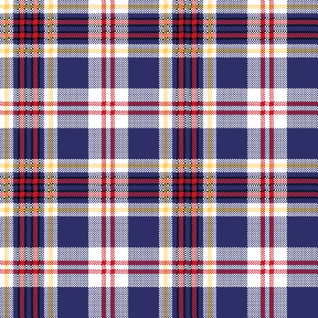 Blue tartan plaid seamless fabric texture. Vector illustration.