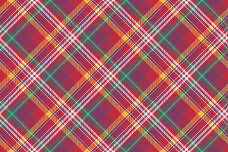 Check colored diagonal plaid madras seamless background. Vector illustration.