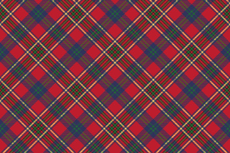 Green red classic tartan check seamless fabric texture. Vector illustration. Illustration