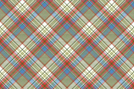 Coloured plaid shirting diagonal seamless fabric texture. Vector illustration.