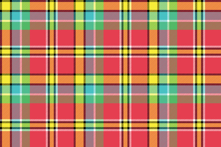 Red yellow check plaid seamless fabric texture. Vector illustration.