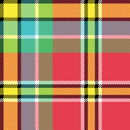 Check fabric texture square pixel seamless pattern. Vector illustration. Illustration