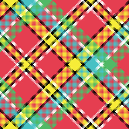 Madras diagonal fabric texture pixeled seamless pattern. Vector illustration. Illustration