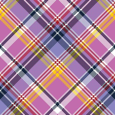checked: Pink purple plaid pixel texture fabric seamless pattern. Vector illustration.