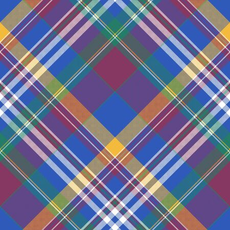 Blue madras diagonal check plaid seamless fabric texture. Vector illustration.