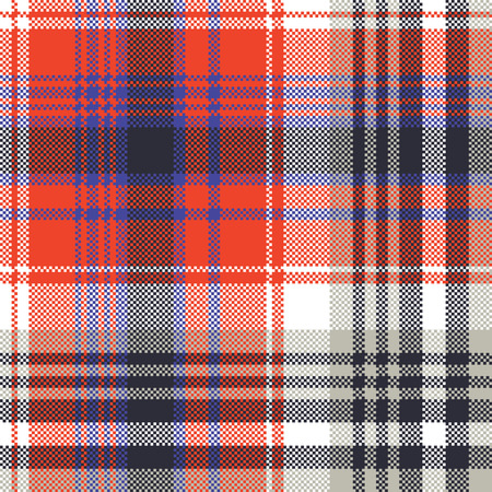 Red check pixel plaid seamless pattern. Vector illustration.