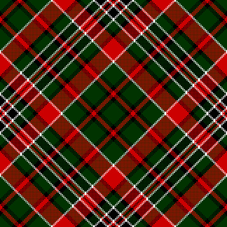 simplicity: Green red diagonal check square pixel seamless pattern. Vector illustration. Illustration
